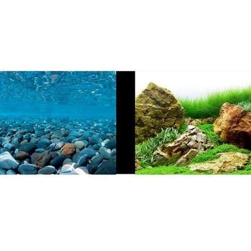 Marina Double Sided Aquarium Background, Stoney River/Japanese Garden Scenes